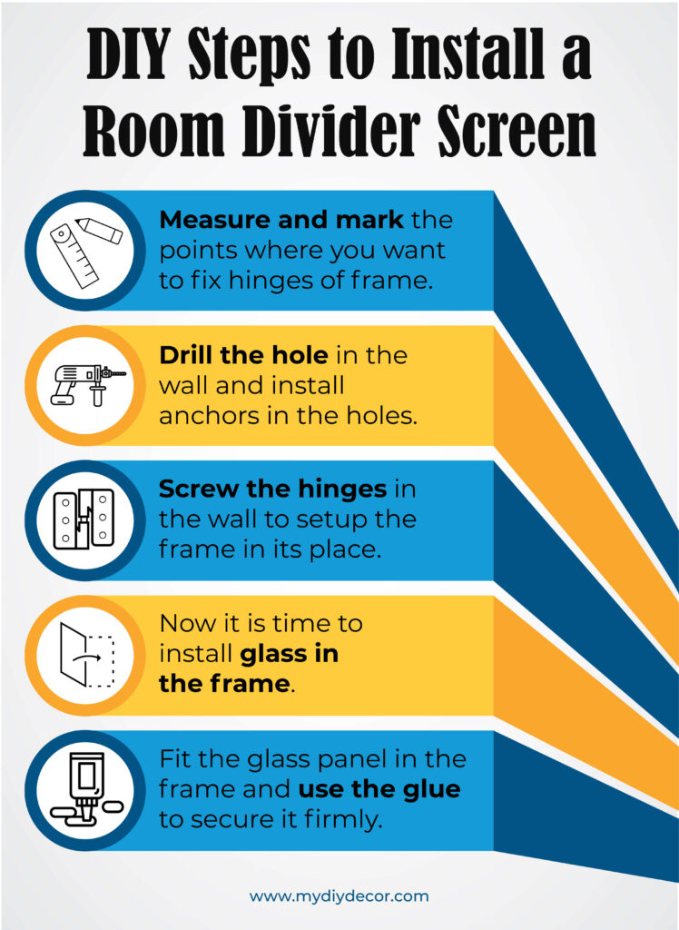 DIY Steps to install a room divider screen 2480-01