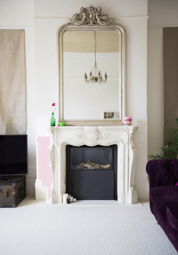 Above the fireplace