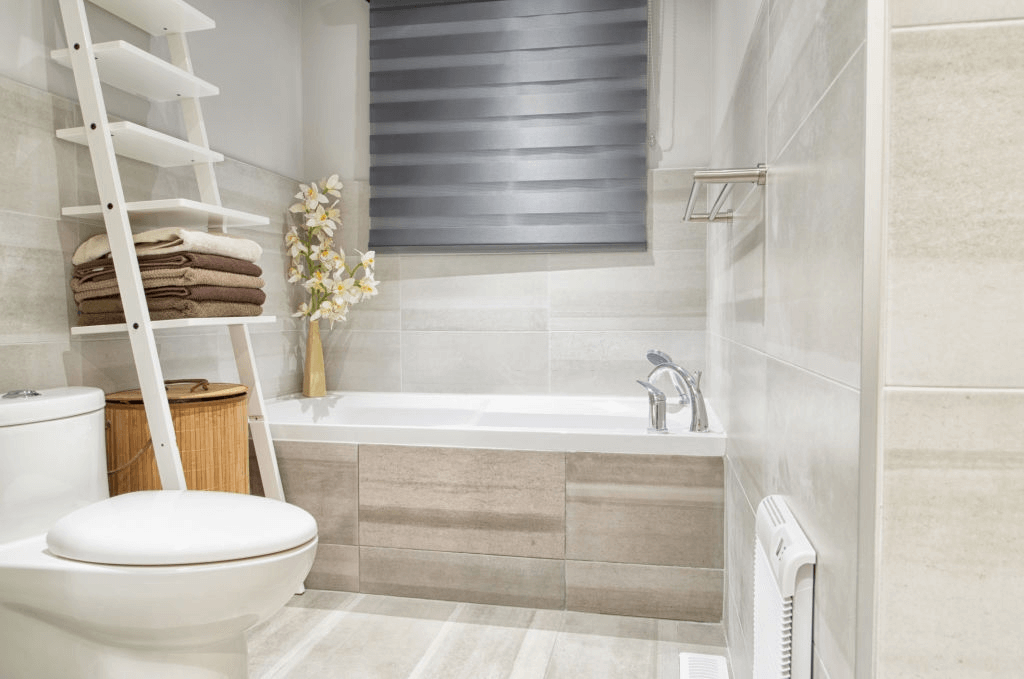 Place a wooden ladder for towels