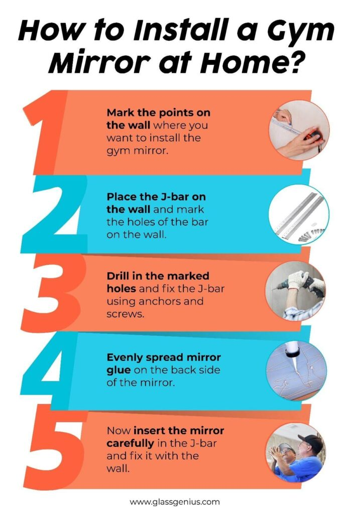 how to install a gym mirror at home